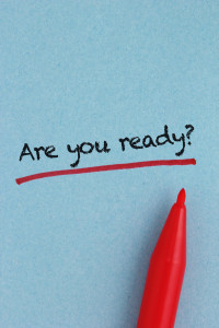 Are you ready - text written on the blue paper, very visible paper texture