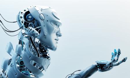 Very detailed 3d robotic man gesturing