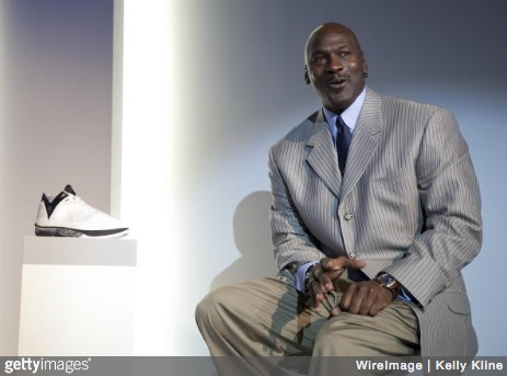 Michael Jordan addresses the media during the launch of the Air Jordan 2009 at The Event Space on January 8, 2009 in New York City. (Photo credit: Kelly Kline/WireImage for Bragman Nyman Cafarelli)