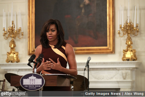 U.S. First Lady Michelle Obama speaks to high school students during a History of Jazz Student Workshop at the State Dining Room of the White House April 29, 2016 in Washington, DC. President Barack Obama and the first lady will host a jazz concert this evening on the South Lawn of the White House to celebrate the International Jazz Day. (Photo credit: Alex Wong/Getty Images)