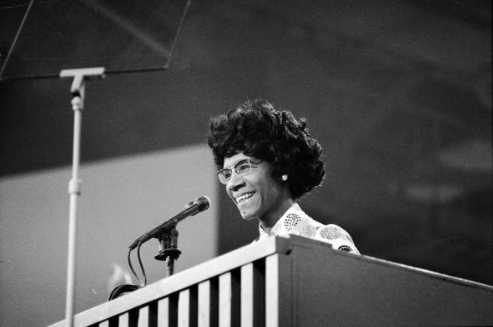 African American educator and U.S. Congresswoman Shirley Chisholm speaks at a podium at the Democratic National Convention, Miami Beach, Florida, July 1972. (Photo credit: Pictorial Parade/Getty Images)